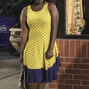 H&M yellow and blue sunflower dress